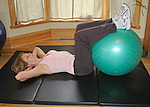 Basic crunch with an exercise ball, abdominal exercise